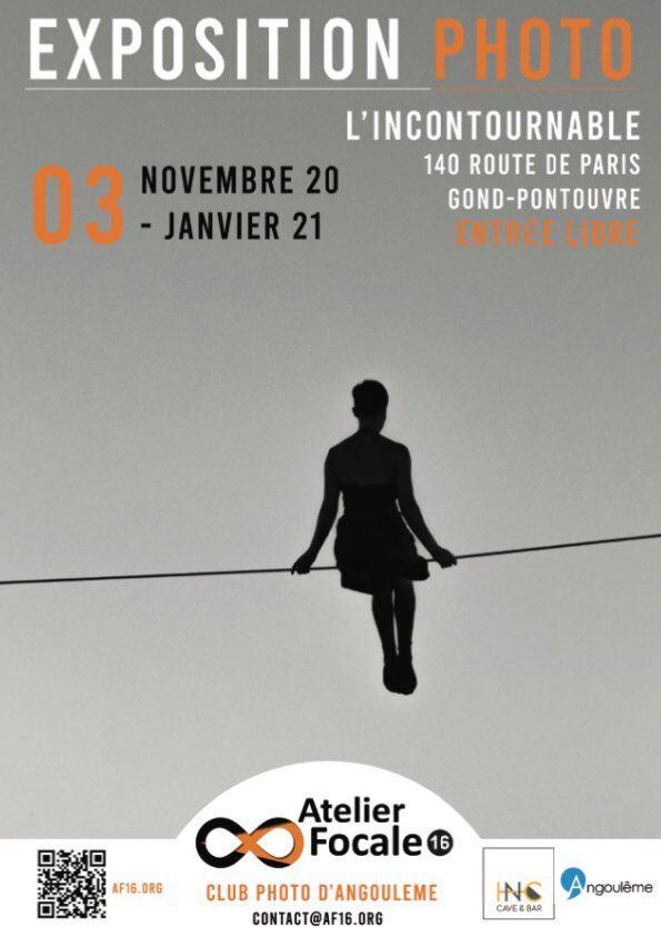 Affiche de l'exposition du club photo d'Angoulême à l'incontournable, du 3 novembre 2020 au 3 janvier 2021