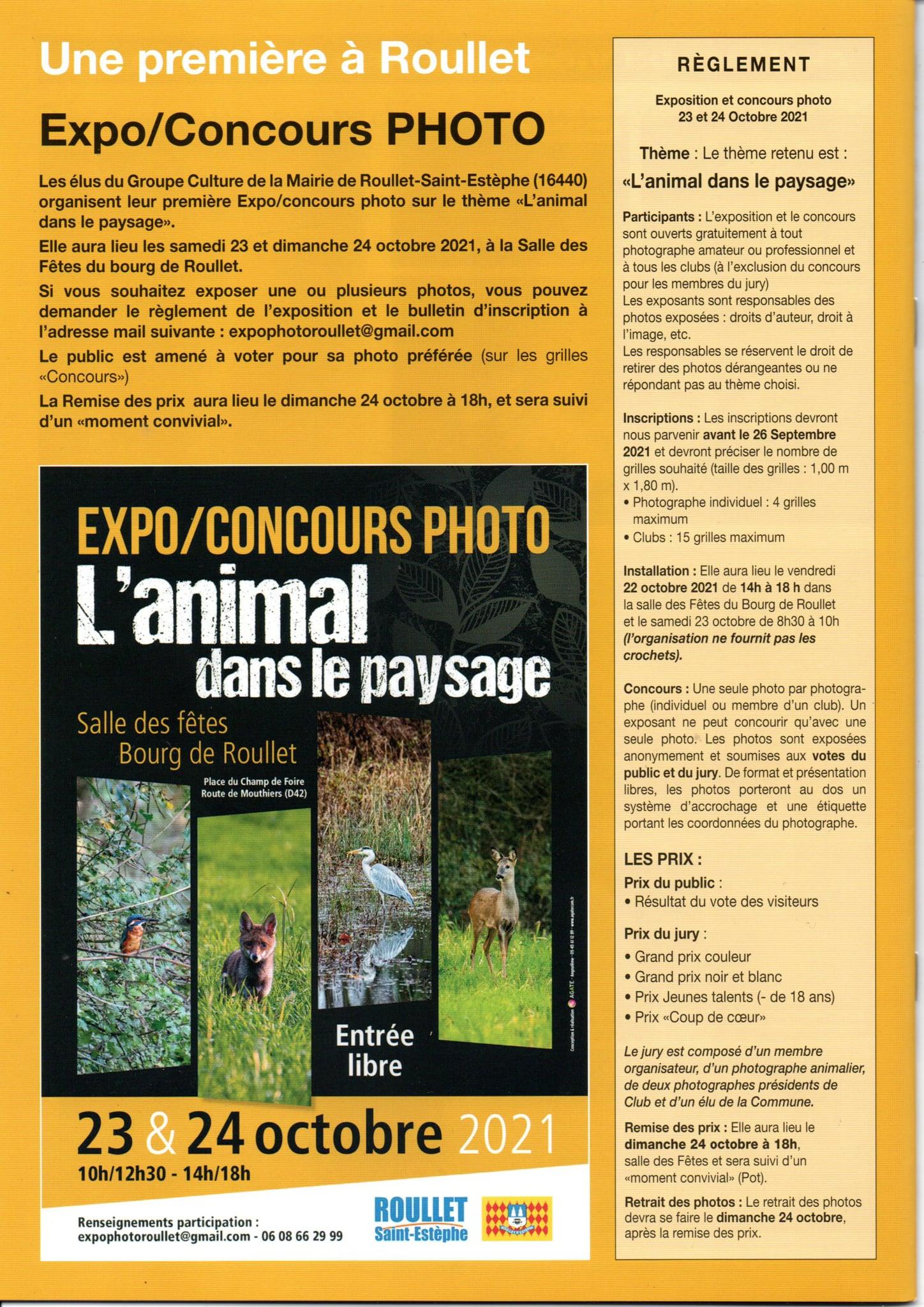 L'animal dans le paysage, affiche de l'Exposition concours organisé à Roullet les 23 et 24 octobre
